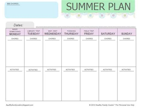 Plan Your Summer Activities With This Printable Calendar
