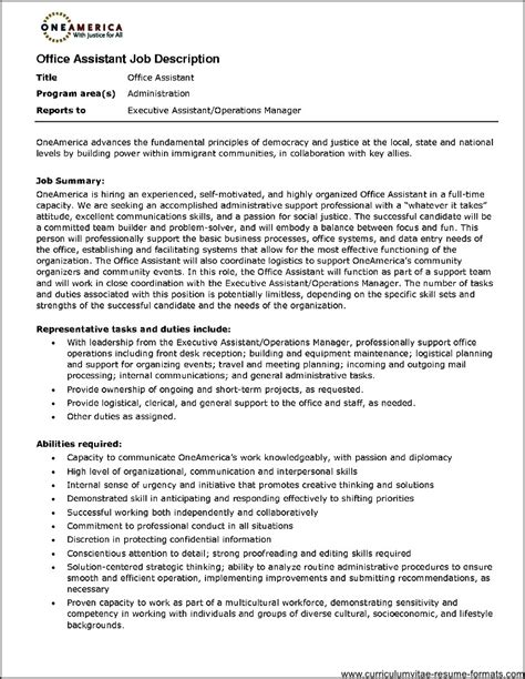 Office Assistant Resume by Office Assistant Duties Resume Free Sles