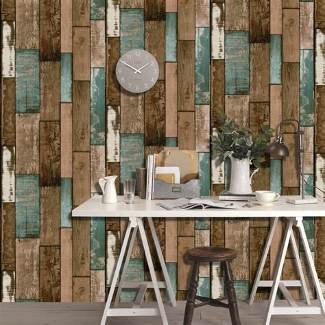 haokhome sticker wallpaper dinding  vintage wood grain