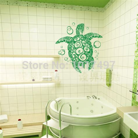 Turtle Bathroom Decor by Vinyl Wall Sticker Large Sea Turtle Turtle With