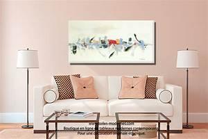 Tableau beige blanc creme art deco grand format creation for Tapis exterieur avec tableau dessus canapé