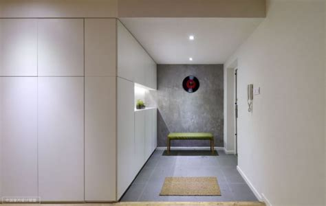 Shanghai Apartment With Modern Minimalist Flair by Simple Storage In Lit With Record Clock