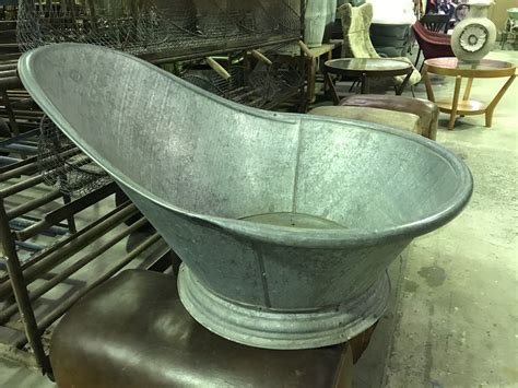 Tub Back by Vintage Industrial 1940s Galvanized Bath Tubs
