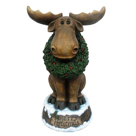 moose lawn ornament design house 23 quot led merry moose with wreath light up lawn decoration great brands