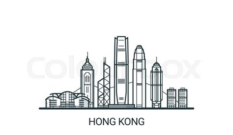 linear banner  hong kong city  buildings customizable  objects  background