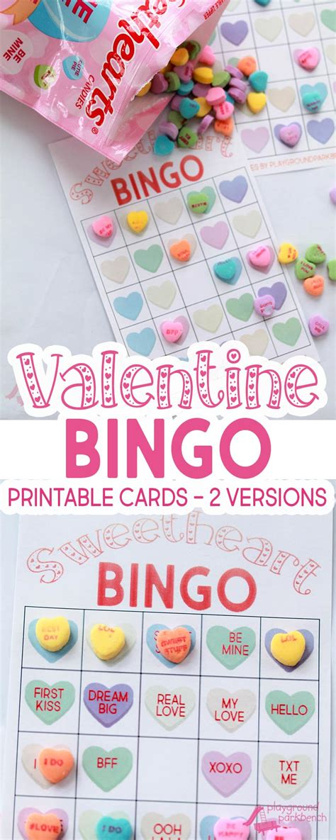 preschool valentine party games conversation hearts bingo 379