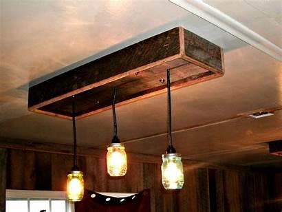 Jar Mason Diy Chandelier Wood Lighting Fixtures