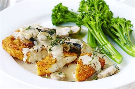 Herb And Garlic Schnitzel With Mushroom Sauce Recipe
