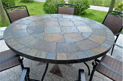 125 160cm slate patio dining table tiled mosaic oceane