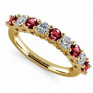 nine diamond ruby wedding ring in yellow gold With diamond and ruby wedding rings