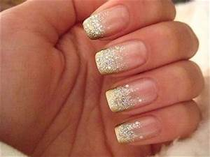 French Gold Silver Glitter Manicure | Nails | Pinterest