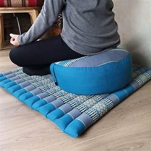 Foldable, Zafu, U0026, Zabuton, Meditation, Cushion, Set, Filled, With, Organic, Kapok, Fibre