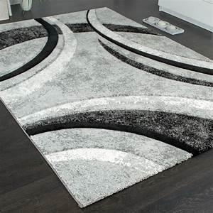 Teppich Grau Weiß Gestreift : designer teppich mit konturenschnitt muster gestreift grau schwarz creme meliert wohn und ~ Markanthonyermac.com Haus und Dekorationen