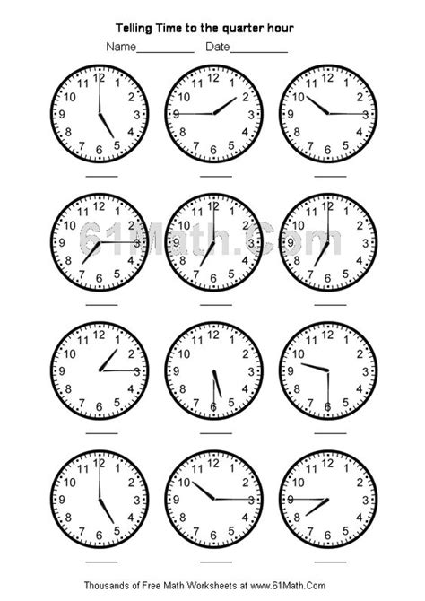 telling time worksheets telling time to the quarter hour