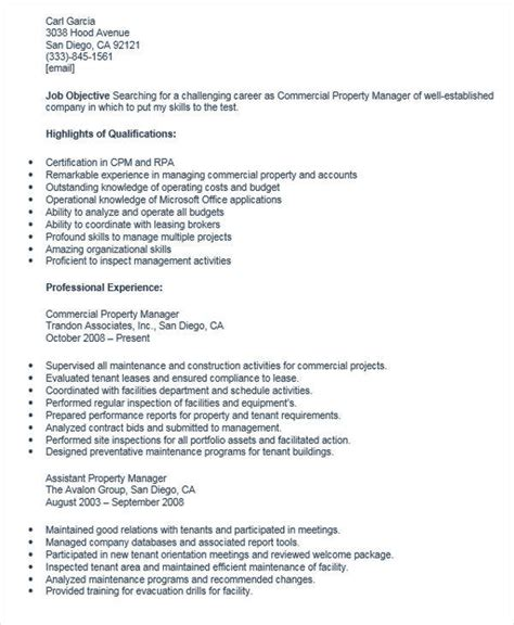commercial property manager resume 28 images apartment