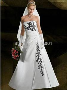 New sexy plus size wedding dress black and white bridal for Womens wedding dresses