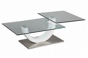 Table Basse Verre Design : table basse design verre et laque blanc plateau pivotant cbc meubles ~ Teatrodelosmanantiales.com Idées de Décoration