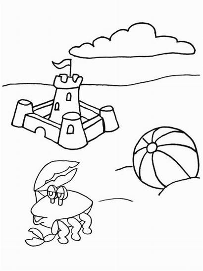 Coloring Beach Crab Pages Sand Castle Crying