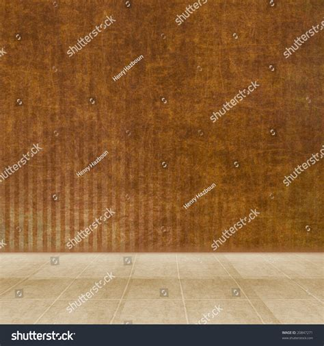 dimensional room   brown striped wall  tile