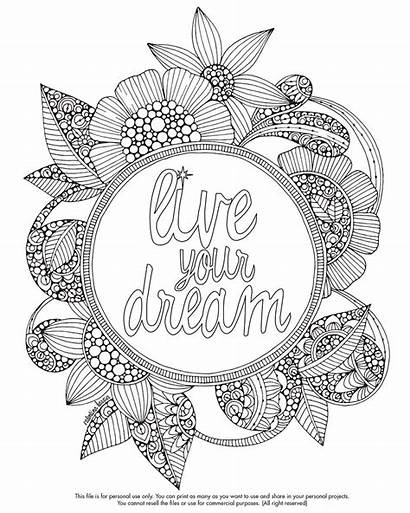 Coloring Pages Dream Quote Mandala Colouring Adult