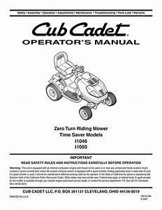 Cub Cadet I1046 Operator S Manual