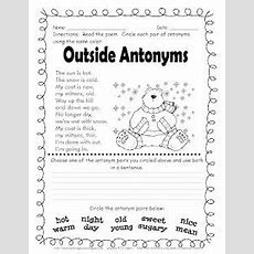 Spring Worksheets Spring Antonyms And Synonyms Worksheet  Classroom Jr  2nd Grade Elar