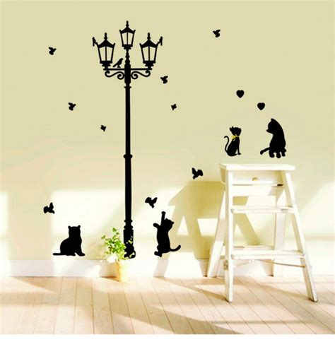 large baby black cat streelight silhouette wall stickers