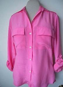 Hot Pink Shirt Womens Button Down  Silk Long Sleeve