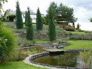 Jardin Avec Bassin : jardin m diterran en avec bassin jardines en desnivel pinterest garden landscaping ~ Melissatoandfro.com Idées de Décoration