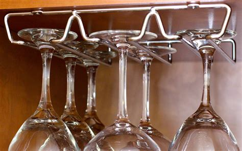wine glass hangers under cabinet decobros under cabinet wine glass stemware rack holder