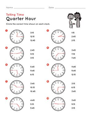 telling time on the quarter hour match it worksheet