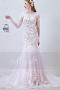robe de mariee sirene manche longue lace majestueuse en With robe de mariée sirene dentelle manche longue