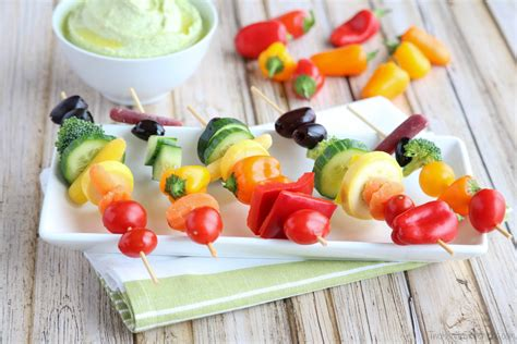 Biotin/ca/carbohydrates/dha/dietary fibre/fat/fe/folic acid/iodine/linoleic acid/mg/monounsaturated fatty acid/niacin/pantothenic acid/polyunsaturated fatty. Rainbow Veggie Kabobs - Two Healthy Kitchens