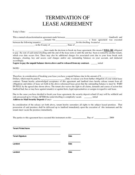 7 Lease Agreement Letter Printable Receipt
