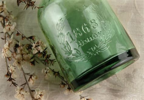 Green Glass Honey Bottle 6in