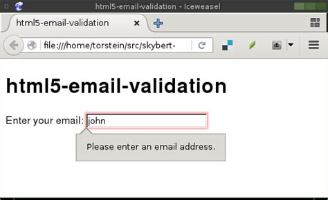 email input validation html5 input email