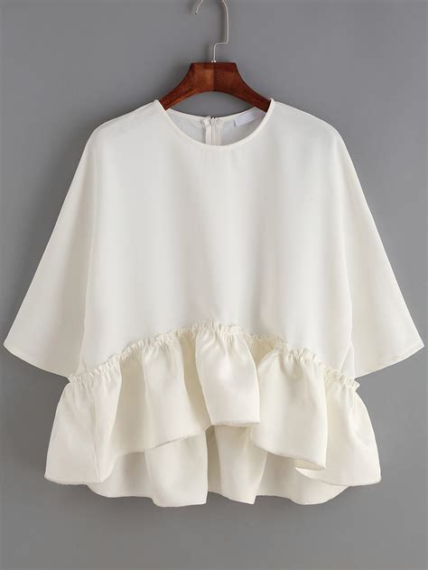 white blouse sleeve white neck ruffle dip hem blouse shein sheinside