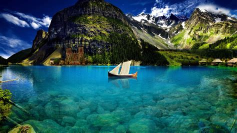 Blue Water and Mountains - Wallpaper #41030