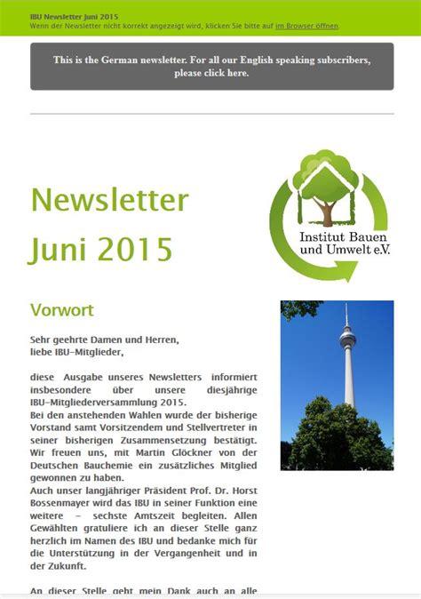 Ibu Institut Bauen Und Umwelt by Archiv Newsletter Ibu Institut Bauen Und Umwelt E V