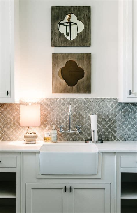gray arabesque tiles contemporary laundry room