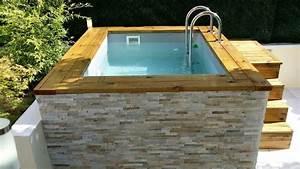 Petite Piscine Hors Sol Bois : mini piscine en bois avec habillage en pierre de parement ~ Premium-room.com Idées de Décoration