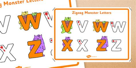 zigzag monster letters formation display poster letter