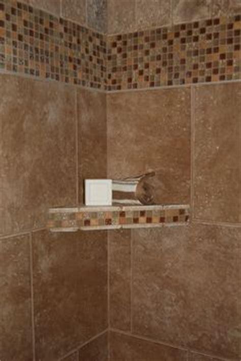 porcelain tile shower  glass  slate borders