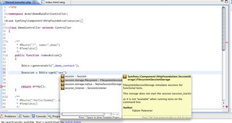 eclipse template with list inside symfony2 eclipse plugin features