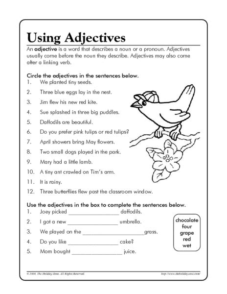 Worksheets On Adjectives For 5th Grade Homeshealthinfo