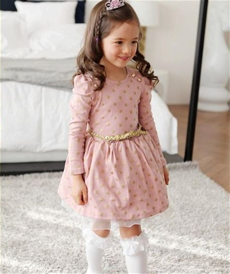 hot  winter autumn baby girl boutique dress gold polka