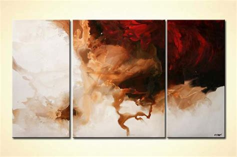 painting  sale white  red modern triptych minimal