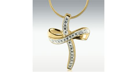 glittering cross  gold vermeil cremation jewelry