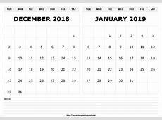 December 2019 And January 2019 Calendar Calendar