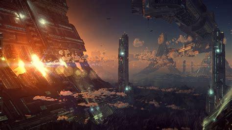 artwork digital art fantasy art futuristic city